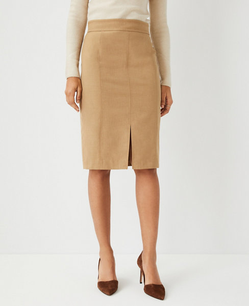 앤테일러 Ann Taylor The Topstitched Front Slit Pencil Skirt,Deep Fawn