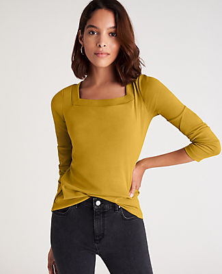 Land squarely in stylish territory with this soft and stretchy top, made in an array of easy-to-style colors. Square neck. Long sleeves. Ann Taylor Square Neck Top