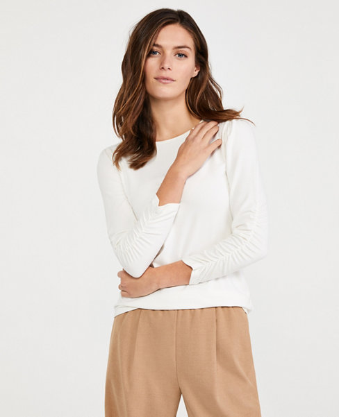 Anntaylor Ruched Sleeve Top