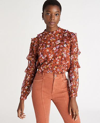 Floral Ruffle Mock Neck Top