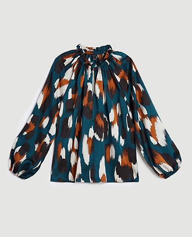 Spotted Shirred Raglan Sleeve Top