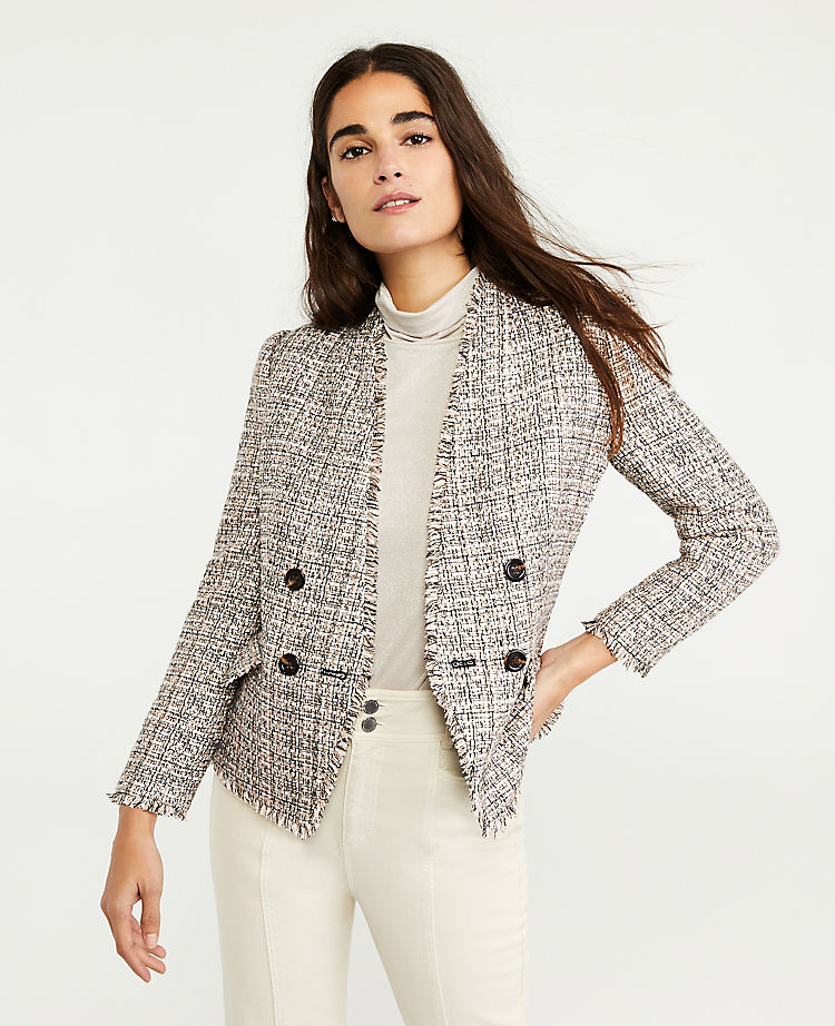 Fringe Tweed Double Breasted Jacket