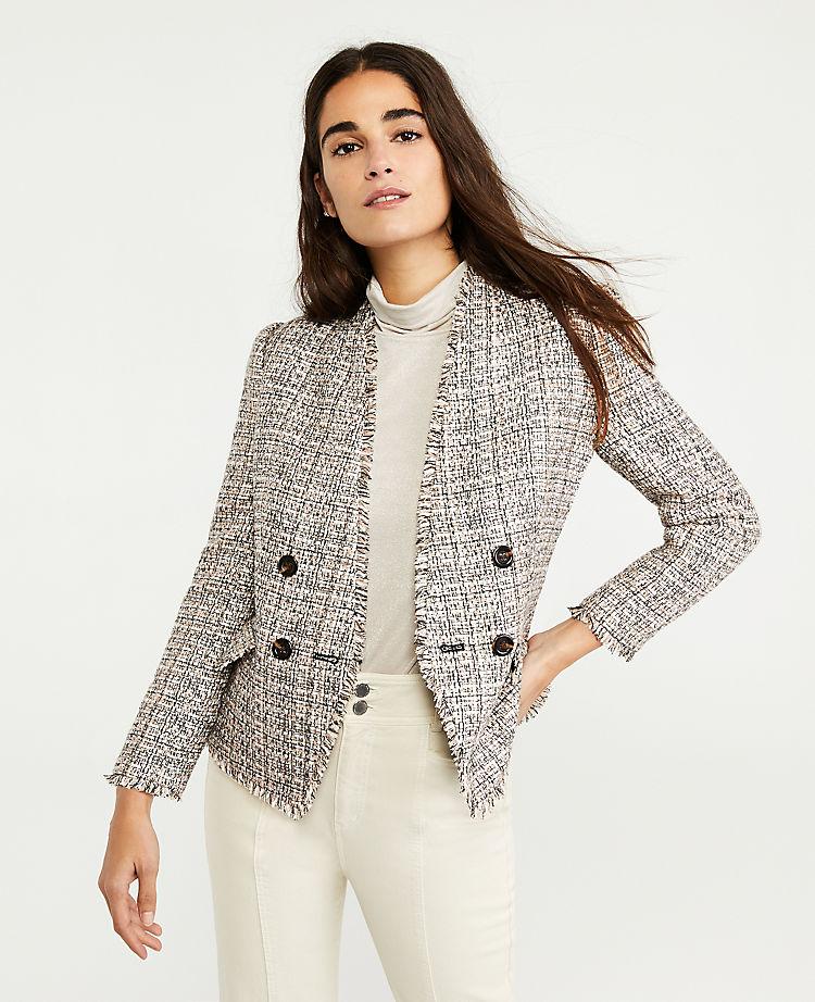 Fringe Tweed Double Breasted Jacket