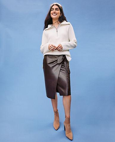 Faux Leather Wrap Pencil Skirt