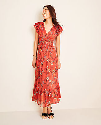 Ann Taylor TALL SHIMMER FLORAL FLUTTER SLEEVE MAXI DRESS