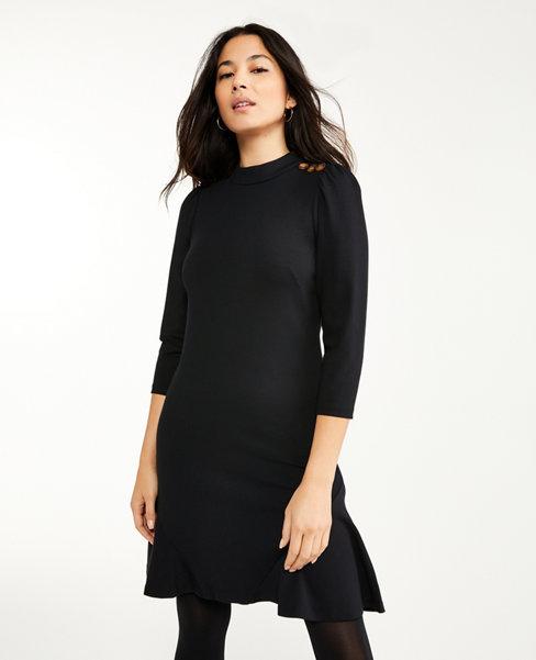 Ponte Shoulder Button Flare Dress | Ann Taylor