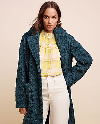 One of our coziest styles, our plush pocket coat is a season-perfect topper with indulgently rich texture. Notched lapel. Long sleeves. Button front. Patch pockets. Lined. Ann Taylor Teddy Patch Pocket Coat