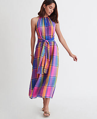Ann Taylor PETITE MADRAS PLAID BELTED HALTER DRESS