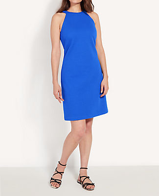 Topped with a sleek halter neck, this perfectly fitted sheath dress tops our summer style list. Halter neck. Hidden back zipper with hook-and-eye closure. Lined. Ann Taylor Halter Shift Dress