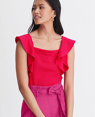 Nothing\\\'s more summer-ready than our seersucker square neck shell, topped off with breezy flutter sleeves. Square neck. Double flutter sleeves. Ann Taylor Petite Seersucker Square Neck Flutter Shell Top