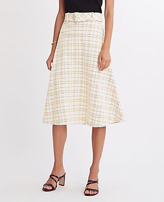 Ann Taylor PETITE CHECKED BELTED FULL SKIRT