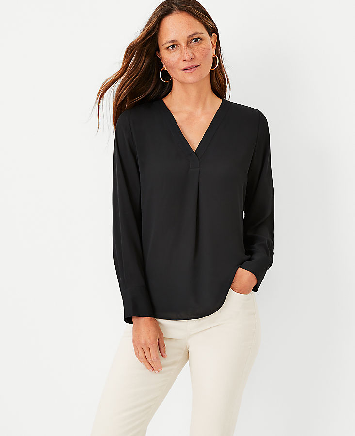 Anntaylor Mixed Media Pleat Front Top
