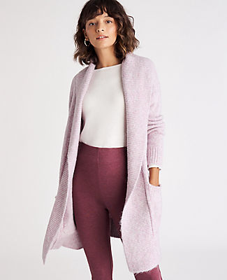 Keep cozy throughout the season with our shawl collar open cardigan - a go-to layer that covers just about everything. Shawl collar. Long sleeves. Drop shoulders. Patch pockets. Ribbed collar, placket, cuffs and hem. Ann Taylor Shawl Collar Open Cardigan