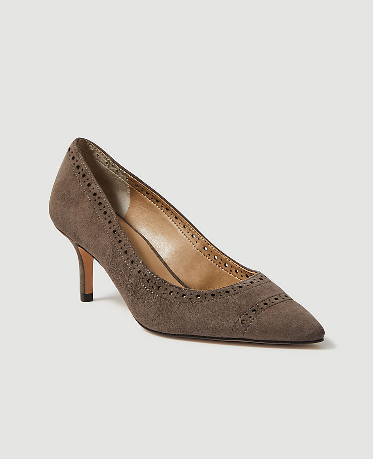 Ann Taylor April Perforated Suede Pumps Women's Shoes (Alley Grey)
