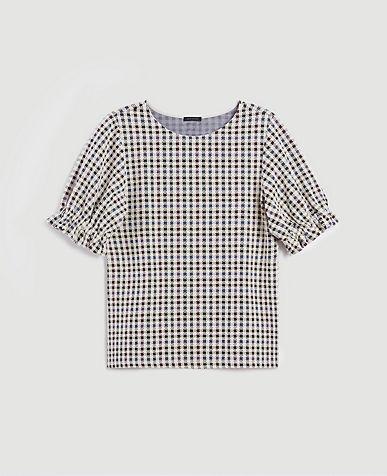 Plaid Knit Top