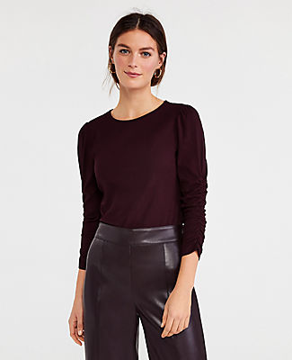 Ann Taylor Petite Ruched Sleeve Top In Midnight Fig