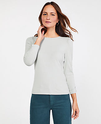 Ann Taylor Petite Ruched Sleeve Top In Aqua Grey