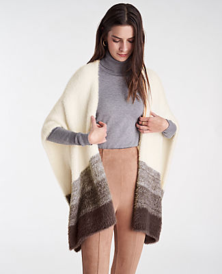 A layer to love, our colorblocked open poncho has your wardrobe covered. Ann Taylor Cozy Colorblock Open Poncho