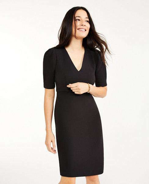 Doubleweave Short Sleeve Sheath Dress   Ann Taylor