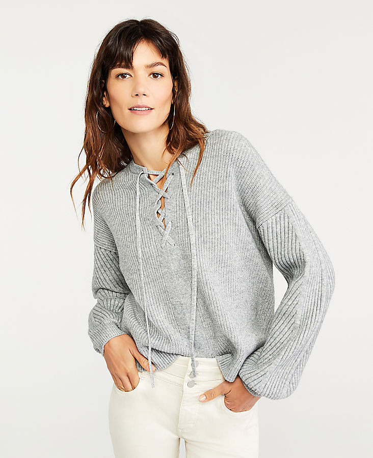 Anntaylor Lace Up Sweater