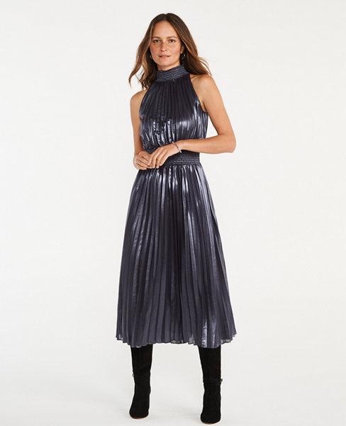 Shimmer Pleated Tie Waist Dress | Ann Taylor