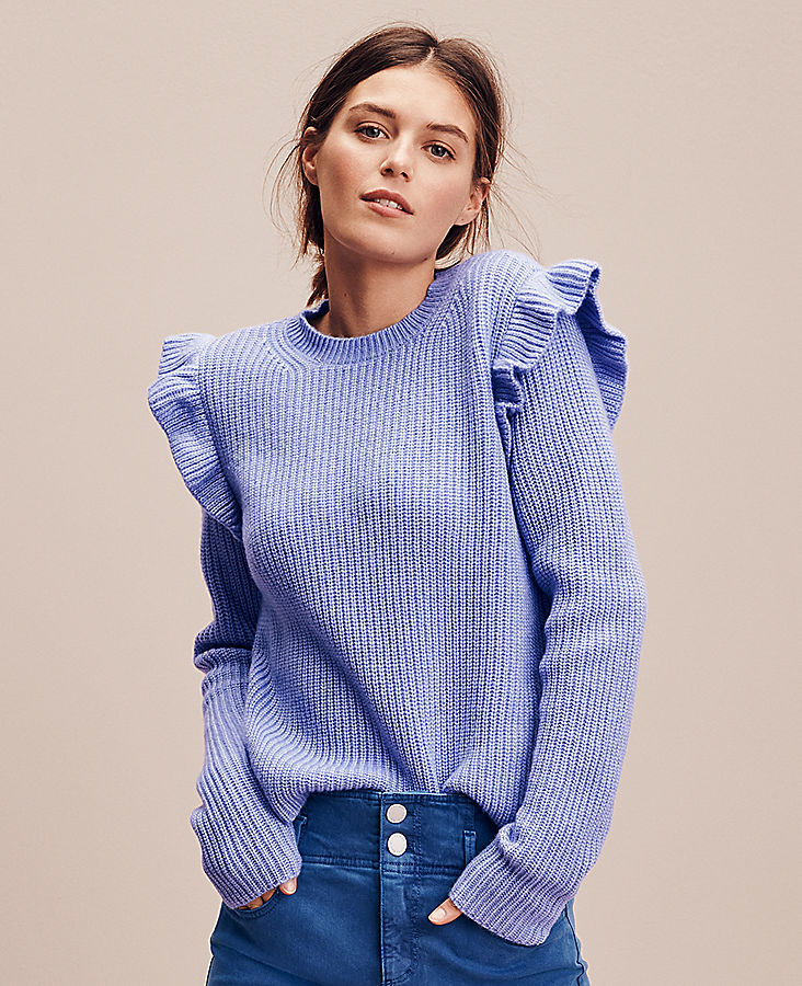 Anntaylor Ruffle Shoulder Sweater