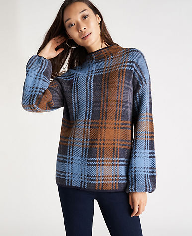Plaid Jacquard Mock Neck Sweater