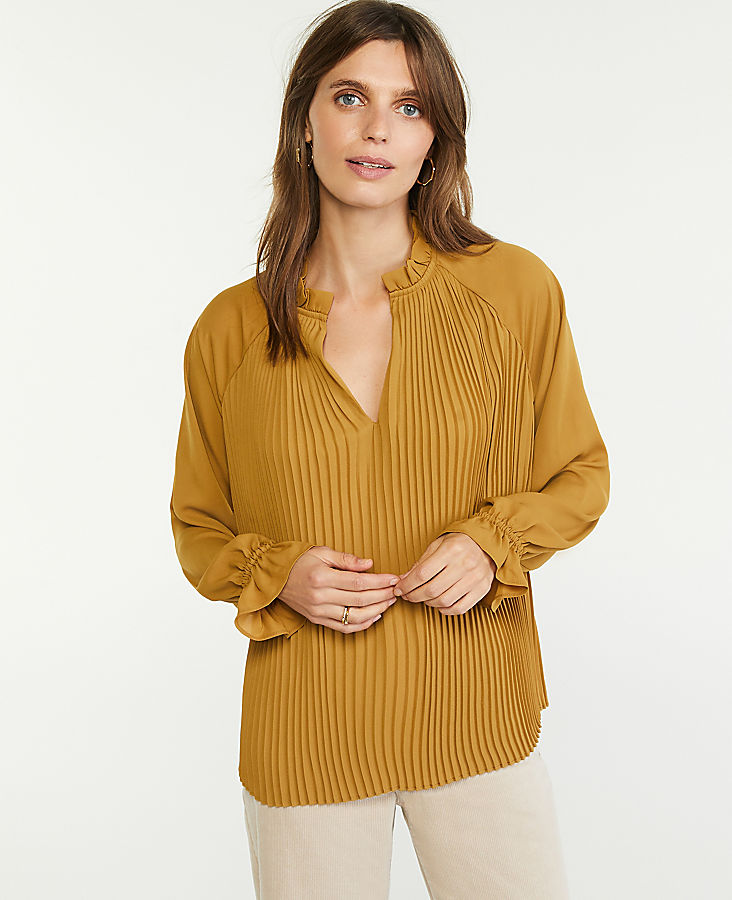 Anntaylor Ruffle Mixed Media Pleat Front Top