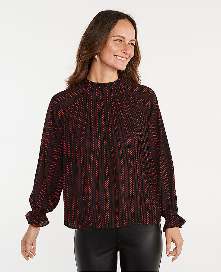 Anntaylor Dotted Ruffle Mixed Media Pleat Front Top
