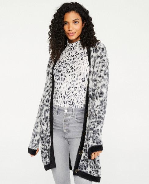 앤테일러 Ann Taylor Snow Leopard Boyfriend Cardigan,Grey Multi