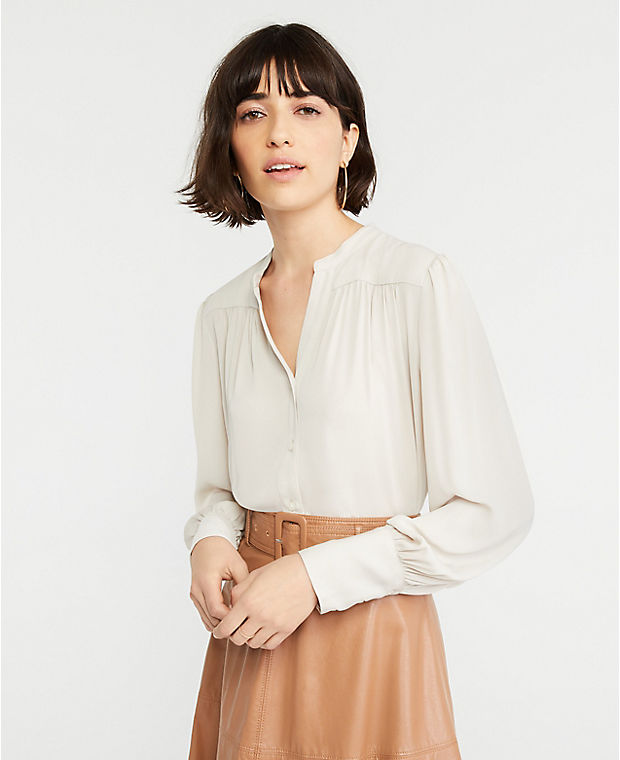 Ann Taylor Shirred Split Neck Blouse