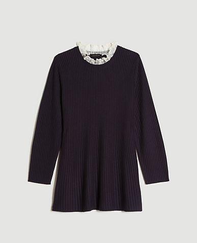 Lace Ruffle Neck Sweater