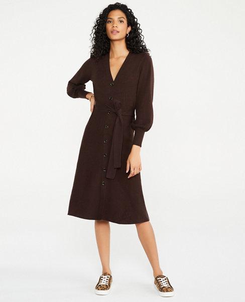 Button Front Sweater Dress | Ann Taylor