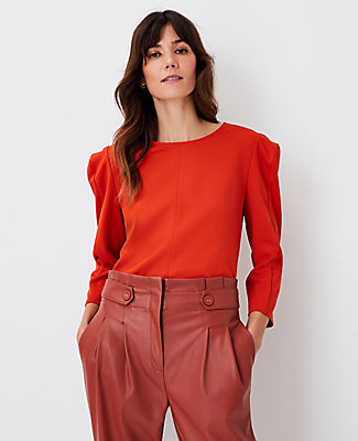 Ann Taylor Petite Seamed Puff Sleeve Top In Mandarin Red
