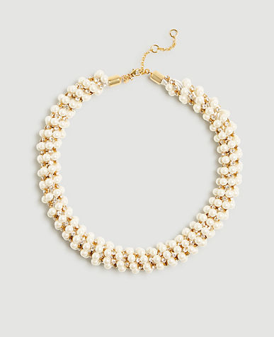 Pearlized Crystal Statement Necklace
