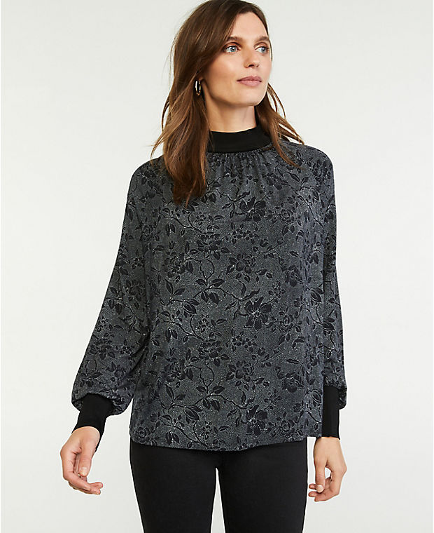 Floral Mock Neck Top (Was $59.50, Now $34.99)