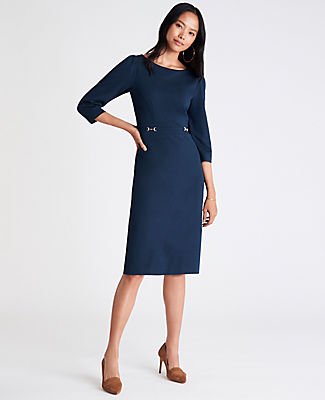 We\\\'ve cinched our smooth ponte dress with a horsebit buckle belt, for a sleek and stylish silhouette. Boatneck. 3/4 sleeves with shirred sleeve caps. Self tie belt. Hidden back zipper with hook-and-eye closure. Back vent. Lined. Ann Taylor Petite Ponte Belted Sheath Dress