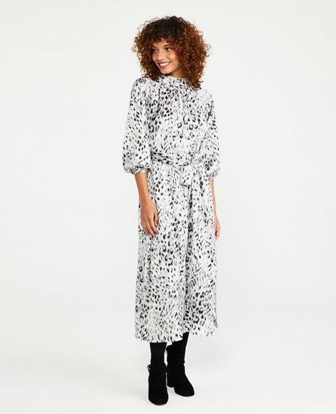 Snow Leopard Print Tie Waist Midi Dress   Ann Taylor
