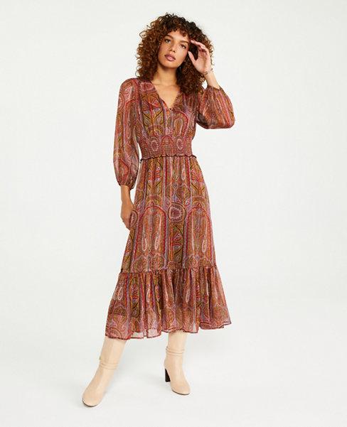 Shimmer Paisley Smocked Waist Maxi Dress   Ann Taylor