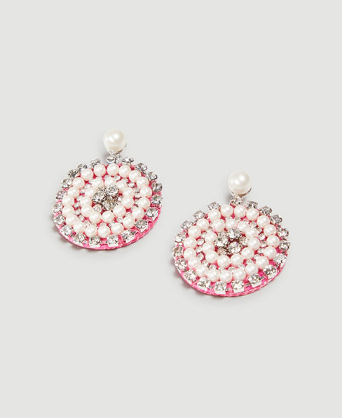 Anntaylor Pearlized Pave Starburst Statement Earrings