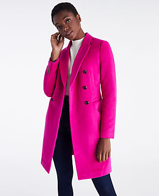 Cleanly structured and impeccably tailored, this refined coat is a welcome addition to any wardrobe. Peaked lapel. Long button-open sleeves allow for versatility in styling. Double breasted button front. Front besom pockets. Back vent. Lined. Ann Taylor Petite Double Breasted Chesterfield Coat