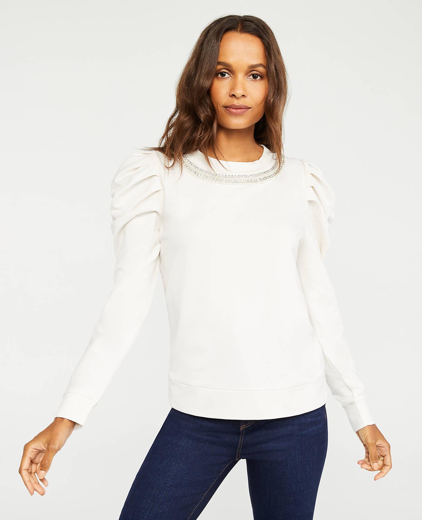 Embellished Puff Sleeve Sweatshirt