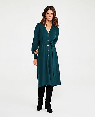 ANN TAYLOR PETITE BUTTON FRONT SWEATER DRESS