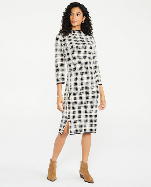 Plaid Button Sweater Sheath Dress | Ann Taylor