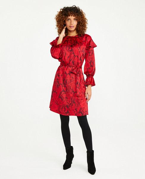 Python Print Tie Waist Flare Dress | Ann Taylor