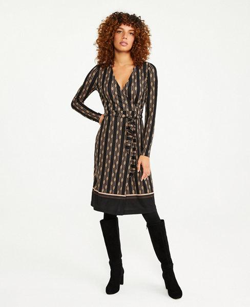 Chain Print Matte Jersey Wrap Dress   Ann Taylor