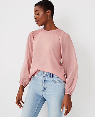 Ann Taylor Smocked Shoulder Top In Powder Rose Pink