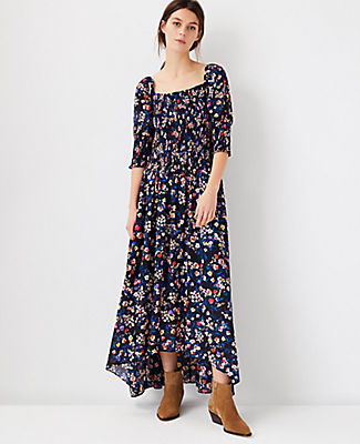 Ann Taylor Floral Smocked Maxi Dress In Night Sky