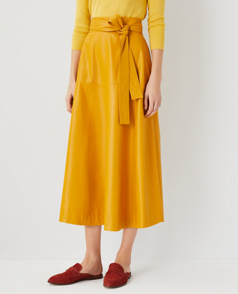 앤테일러 Ann Taylor Faux Leather Tie Waist Midi Skirt,Golden Sunray