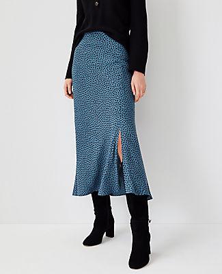 Ann Taylor Animal Print Slip Skirt In Teal Frost